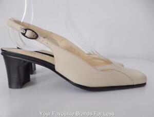 PIERRE CARDIN PARIS Women's Shoes  Cream Leather Slingback NEW  Size 37