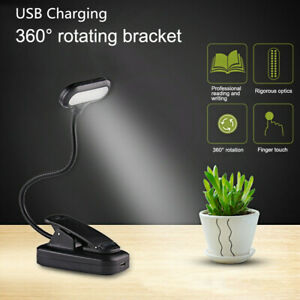 Mini 5 LED Clip On Adjustable Book Reading Light USB Rechargeable Table Lamps