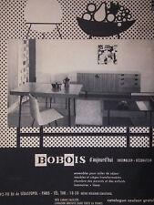 PUBLICITÉ DE PRESSE 1958 BOBOIS ENSEMBLES POUR SALLE DE SÉJOUR - ADVERTISING