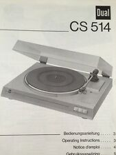 "Dual CS514 Turntable ""Original"" Owners Manual Multi-Language 514"