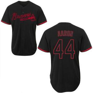 Atlanta Braves #44 Hank Aaron Fanmade Black Fashion Baseball Jersey XS-4XL