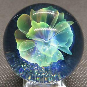 "Randal Henson Jr. 1.50"" Glass Marble (Ghost Flower) Vivid Gold & Silver Fume"