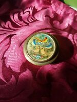 RARE ENAMELLED & ABALONE? BIRDS  PILL BOX WITH MIRROR