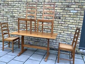 Ercol Pine Refectory Dining table and 4 chairs  Country Farm Arts & craft/1960's