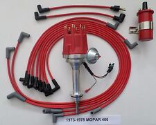 small cap MOPAR 1973-78 400 RED HEI Distributor, 45K RED Coil +Spark Plug Wires