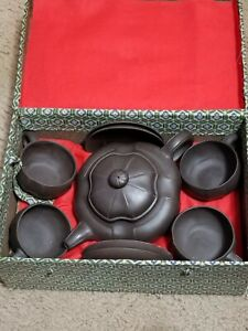 Chinese Clay Yixing Tea Set Teapot 4 Cups 4 Saucers Vtg in Original Box
