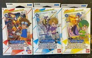 Digimon Starter Decks Gaia Red ST-1 Cocytus Blue ST-2 Heaven's Yellow ST-3