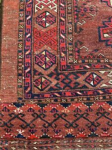 "ANTIQUE TURKOMAN YOMUD CHUVAL BAG-FACE RUG  3' 1"" X 4' 6"""