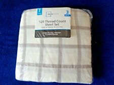 MAINSTAYS TWIN 3 PIECE 120 THREAD COUNT FRENCH STRIPE BEDDING BED SHEET SET