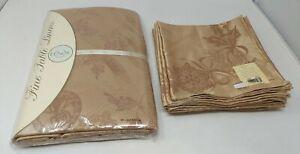 Lenox Holiday Christmas Ornament Jacquard Gold Oblong Tablecloth & 8 Napkins NEW