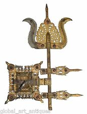 Rare unique gold plated Real antique south Indian traditional door lock. G2-164