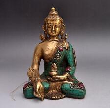 Old Tibet buddhism bronze Inlay Turquoise sakyamuni Shakyamuni Buddha statue A01