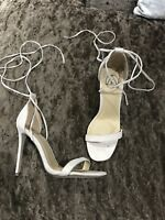 BN Missguided Nude Barely There Tie Up Heels Size 5