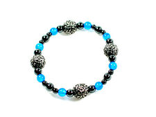 Handmade Blue Onyx and Celtic design pewter spheres  bracelet, Viking, Celtic
