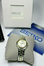 Seiko Ladies Thin 16 Diamond Two Tone Date Watch Box, Papers, Warranty