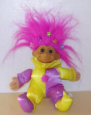 """Russ 6"""" Troll Doll Soft Body Baby Clown Satin Outfit Russ Tag Hair With Stars!"""