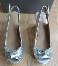 Apt 9 Callista Silver Fx Leather Cork Wedge Platform High Heel Sandal Shoe 6 $55