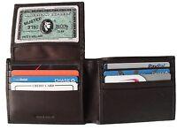 Men's Bifold Leather Wallet RFID Blocking Brown New Bi-fold