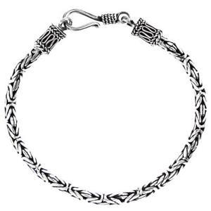 3mm Byzantine Bali Handmade Solid 925 Sterling Silver Chain Anklet Bracelet