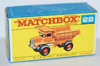 Matchbox Lesney No 28 Mack Dump Truck Repro E style Empty Box