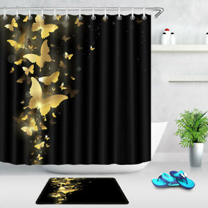 Golden Butterfly Black Background Fabric Shower Curtain Bathroom Accessory Sets