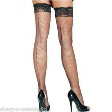 Ladies Sexy Black Seamed Seemed Lace Top Burlesque Fishnet Stockings Hold Ups