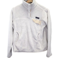 T107 Patagonia Los Gatos Deep Pile Sweater White Quarter Snap Women's Size Small