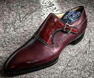 All Leather Handmade Crocodile Calf Shoes Men Monk Dress Alligator Designer Shoe