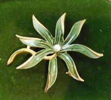 Vintage Emmons Maltese Green Enamel Flower Orchid? Gold tone Brooch Pin 4i 104