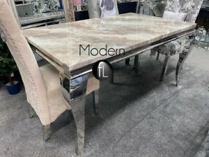 Louis dining table with beige solid marble top, 1.8 M long stunning dining table