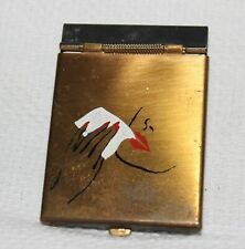 Rare Vtg Lipstick Blotter Papers Tissues Painted Metal Compact Mirror Mcm