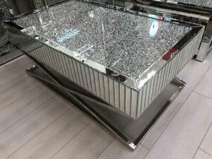 Mirrored Coffee Table Diamond Crystal Living Room Crushed Furniture 120cm