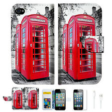 British phone Booth Wallet Case Cover For Apple iPhone 4 4S -- A025