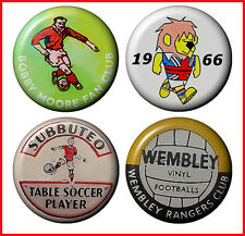 Football World Cup Willie England Badges Retro Collection 1-inch Button set Pack