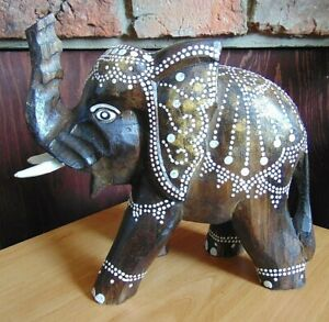 Hand carved painted wooden wood Elephant ornament carving fair trade gift H25cm