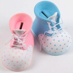 Spardose Baby-Schuh hellblau / rosa