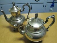 (2) Vintage Silver on Copper Teapots w/ Cat, P S, and Crown on Bottom