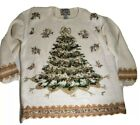 Vintage Ugly Christmas Sweater Tree 1999 Beige Sz L Heirloom Traditions