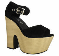 NEW WOMENS HIGH HEEL CUT WEDGE WOODEN PLATFORM SHOES ANKLE STRAP CHUNKY SUEDE BU