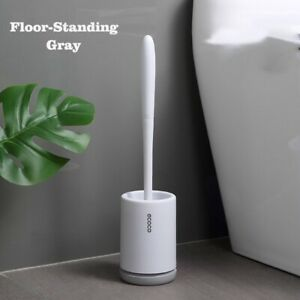 TPR Silicone Toilet Brush with Holder Handle Soft Bristles Bathroom Cleaning Set