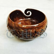 Antique Vintage Style Wooden Yarn Bowl Kitting Holes Storage Crochet Gift