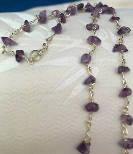 Amethyst Chips Purple Choker Wire Wrap Choker NEW