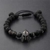 Mens Charm Black Spartan Helmet Beaded Natural Stone Adjustable Macrame Bracelet