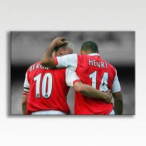 """THIERRY HENRY & DENNIS BERGKAMP ARSENAL CANVAS Poster Wall Art 30""""x20"""" CANVAS"""