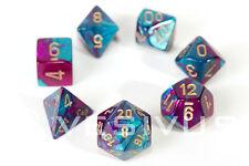 DICE Chessex Gemini PURPLE TEAL 7-Dice Set Marble Shiny d20 d6 Girl Neon 26449