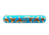 Vintage Brooch Turquoise Blue Enamel Leaves Pin 14K Antique Victorian