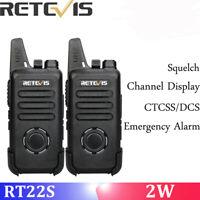 2pcs Walkie Talkies Retevis RT22S 2W 22CH FRS License-free Dustproof 1000mAh