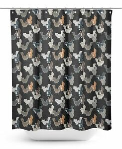 S4Sassy Black Cats Geometric Printed Bathroom Curtain Mildew Resistant-RcZ