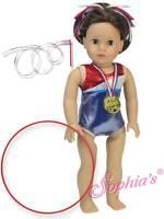 "Red White Blue Gymnastics Leotard Gold Medal Ribbon fit 18"" American Girl Doll"