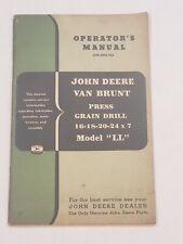 John Deere Van Brunt Ll Press Grain Drill Owners Operators Manual Om M18 955
